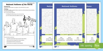 National Anthems of the World Activity Sheet - national anthems, countries around the world, geography research, country research, flags, amazing f