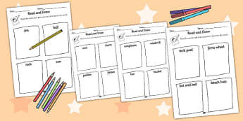 Seaside Themed Differentiated Read and Draw Worksheets - sea side