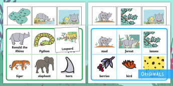 Ronald the Rhino Matching Cards and Boards Game - EYFS, Early Years, KS1, Key Stage 1, Twinkl Fiction, Twinkl Originals, Jungle, Forest, Rhinoceros, L