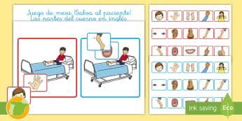A1 Juego de mesa: ¡Salva al paciente! - Las partes del cuerpo en inglés - English, human body, the body, anatomía, anatomy,