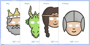 St George And The Dragon Story Role Play Masks - St George, princess, maiden, dragon, Margaret Hodges, role play, masks, play, king, story book, book, book resources, story