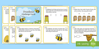 Year 1 Bee Themed Differentiated Fractions Challenge Cards - Year 1, Y1, year one, Maths, math, numeracy, mathematics, fractions, sharing, share, division, bees,