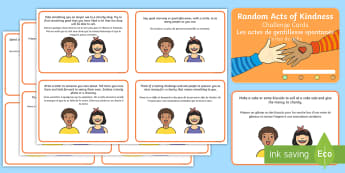 Random Acts of Kindness Challenge Cards English/French - Random Act of Kindness Challenge Cards - kindness, challenge card, challange, kindess, EAL French,Fr