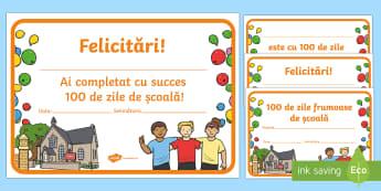 100 de zile de școală - Diplomă  - 100 de zile de școală, română, diplome, sărbători, materiale, diplomă,Romanian