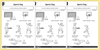 Sports Day Multiplication and Division Differentiated Problem-Solving Activity Sheets - Multiplication and Division, multiply and divide by 2, 5 and 10, solve problems, word problems, cont
