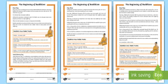 KS2 The Beginning of Buddhism Differentiated Reading Comprehension Activity - Buddha, Buddhists, religion, understanding, questions