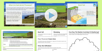 Coasts 5: Sub-Aerial Processes Lesson Pack - slumping, sliding, rockfall, mass movement, erosion, cliff, coast