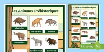 Poster : Les animaux préhistoriques - préhistoire, prehistory, animaux préhistoriques, prehistoric beasts, mammouth, rhinocéros laineux