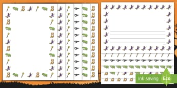 Witch and Animals Page Borders - room on the broom, page borders, writing frames, writing guide, writing template, writing aid, writing, line guide, guides