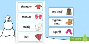 Cardiau Geiriau Dillad Y Gaeaf - Cardiau, Geiriau, Dillad, Y Gaeaf, Llythrennedd, Literacy, Winter, Word, Cards, ,Welsh-translation