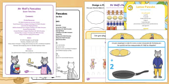 Quiet Time Box to Support Teaching on Mr Wolf's Pancakes - Mr Wolf's Pancakes, pancake day, Jan Fearnley, pan cake