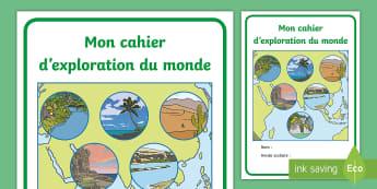 Couverture de cahier : Cahier d'exploration du monde  - Cycle 1, cycle 2, organisation de la classe, classroom organisation, couverture, cahier, exploration