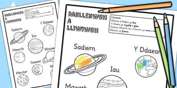 Planet Read And Colour Worksheet Welsh Translation - gofod, wales