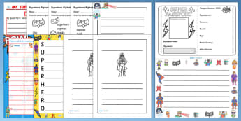 Superhero Themed Writing Activity Pack - write, writing aid
