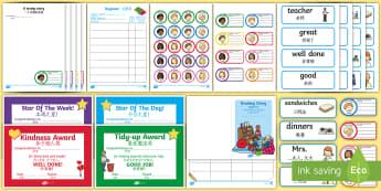 School Role-Play Pack English/Mandarin Chinese - School Role Play Pack - Role Play Pack - School Role Play Pack, school role play, register, teacher,