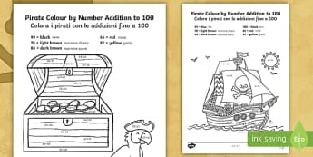 Pirate Themed Addition to 100 Colour by Numbers English/Italian - colour, numbers, add, 100, addition,numbes,nubers,+,adition,additio,colourby numbers,coloyur by numb