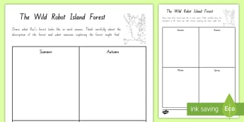 Draw the Island Forest in the Seasons Activity to Support Teaching on The Wild Robot by Peter Brown - literacy, reading, chapter chat, the wild robot, peter brown, robot