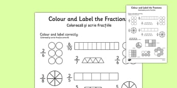 Colour and Label Fractions Worksheet Romanian Translation - romanian, fractions, fractions worksheet, colour and label fractions, colouring fractions worksheet, ks2 numeracy, ks2