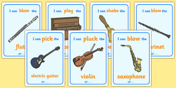 I Can Musical Instrument Posters - Music, musical action, instrument, playing instruments, I can, piano, drums, guitar, recorder, violin, triangle, cymbals