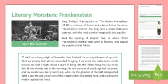 Literary Monsters: Frankenstein Chapter Five Activity Sheet - Frankenstein, Prometheus, Chapter Five, Gothic, science fiction, monster, Halloween, Mary Shelley