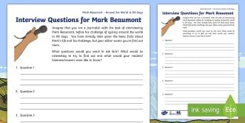3-6 Around The World In 80 Days Mark Beaumont Interview Questions Worksheet / Activity Sheet - Mark Beaumont, Around The World In 80 Days, Cycling, Challenge, World Record, worksheet, Australian
