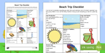 Day at the Beach Parents' Checklist  - holiday, seaside, babies, toddlers, day trips, parents, family