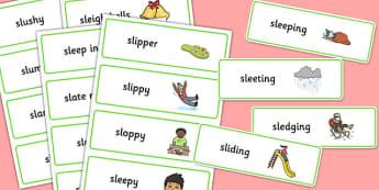 Two Syllable SL Sound Word Cards - sen, sound, sl sound, sl, sen, two syllable, word cards