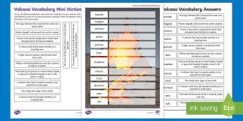 Volcano Vocabulary Mini Dictionary Activity Sheet - Lava, magma, eruption, active, dormant, extinct, worksheet