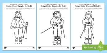 Design Winter Olympics Ski Outfit Activity Sheet Arabic/English - Olympic Games, Sportswear, Sport Suit, Winter sports, Skiing, worksheet, EAL,Arabic-translation