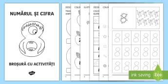 Numărul și cifra 8 Broșură cu activități - cifre, numere, numărul 8, clasa pregătitoare, broșuri, numerație, formarea numerelor,Romanian