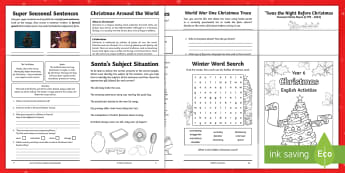 Year 6 Christmas English Activity Booklet - holiday booklet, homework booklet, y6, spag, writing activity, reading activity,