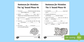Northern Ireland Literacy Linguistic Phonics Stage 5 and 6, Phase 4b 'ay' and 'e' Dictation Sentences Activity Sheets - missing words, cloze, Worksheets, dictation, words, 'ay', 'e', sounds, phonics