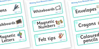 Turquoise Themed Editable Writing Area Resource Labels - Themed writing resource labels, literacy area labels, writing area resources, Label template, Resource Label, Name Labels, Editable Labels, Drawer Labels, KS1 Labels, Foundation Labels, Foundat