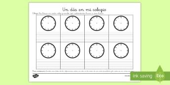 Ficha de actividad: Un día en mi colegio - horas, brasil, reloj, rutinas, horarios, comparar, vida cotidiana, colegio, diario.,Spanish