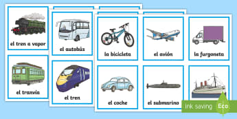 Transport Word and Picture Sorting Cards - Spanish, KS2, transport, word, picture, sorting, cards
