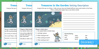 Treasures in the Garden Moon Setting Description Differentiated Activity Sheets - setting, describe, writing, moon, space, adjectives, narrative, fiction,, ks1, year 1, literacy, eng