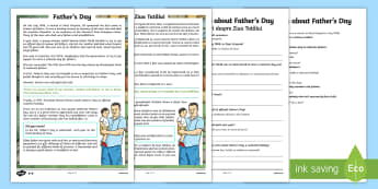 KS2 Father's Day Differentiated Reading Comprehension Activity English/Romanian - Father\'s Day, comprehension, KS2, reading, differentiated, June, dad, daddy, history, eal