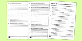 The Irish War of Independence Comprehension Sheets - roi, irish, gaeilge, irish war of independence