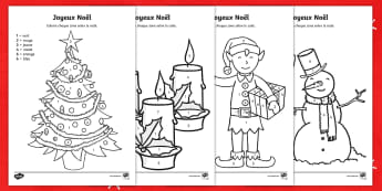 Merry Christmas Colour by Number-French - KS2, French, Resources,colours, colour by numbers, Christmas, ,French