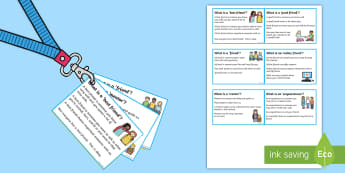 Lanyard Sized Types of Friendships Description Cards - friends, special education, cards, emotions, flashcards