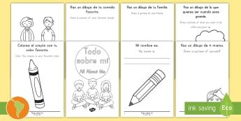 All About Me Booklet (English/Spanish)  USA, Back to School, Beginning of School, First Day of School, kindergarten, spanish, spanish immersion