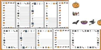 Halloween Page Border - Halloween, page borders, writing borders, pumpkin , witch, bat, scary, black cat, mummy, grave stone, cauldron, broomstick, haunted house, potion, Hallowe'en