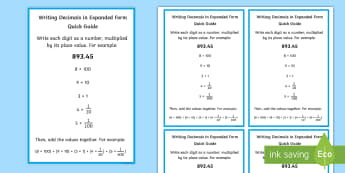 Writing Decimals in Expanded Form Quick Guide - decimal, place value, word form, expanded form, standard form, poster, display, support,