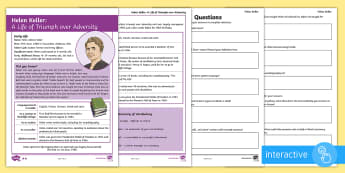KS2 Helen Keller Differentiated Comprehension Go Respond Worksheet / Activity Sheets - KS2, Helen Keller, comprehension, reading, reading comprehension, reading activity, interactive, tab