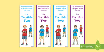 Year 3 and 4 Term 1 Chapter Chat Editable Bookmarks to Support Teaching On The Terrible Two by Jory John and Mac Barnett - reading, literacy, chapter chat, the terrible two, jory john, mac barnett