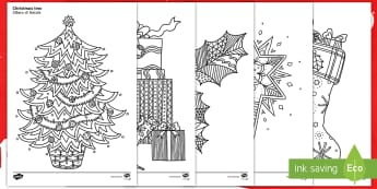 Christmas Themed Mindfulness Colouring Sheets English/Italian  - colouring, pd, fine motor skills, well being, stress, relax, unwind, early years, ks1, ks2, art, hom