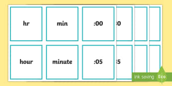 Time Digit Cards - digit cards, answer cards, time, digital time, measures,Irish