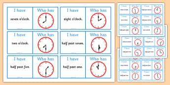 Half Past and O'Clock Loop Cards - loop cards, half past, o'clock