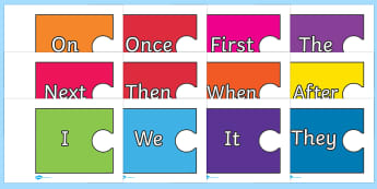 Sentence Starters on Jigsaw Pieces - Sentence starter, writing sentences, vocabulary, writing aid, how to start a sentence, the, next, there