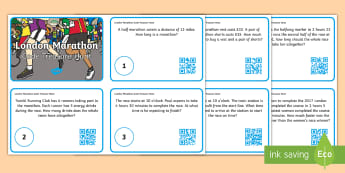 KS1 London Marathon QR Code Hunt Maths Challenge Cards - word problems, year 1, year 2, outdoor maths, outdoor learning, forest schools, reasoning, mastery,